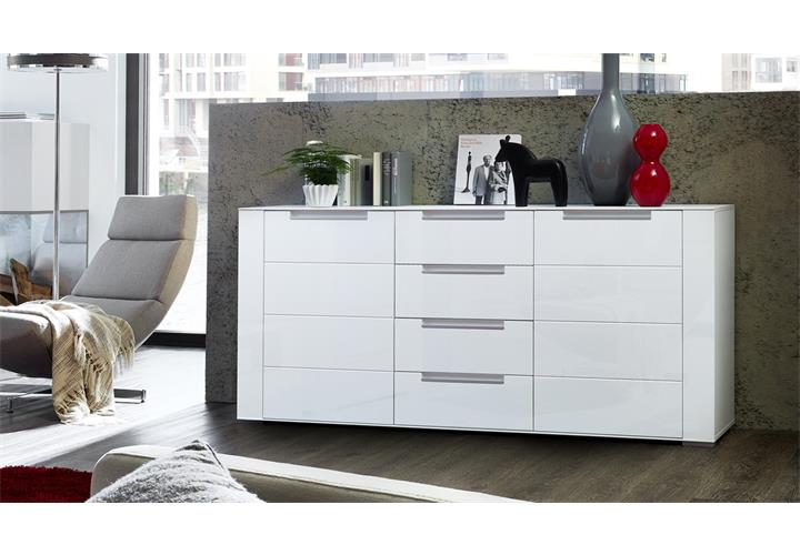 wohnwand dinaro 6 tlg anbauwand wohnkombi wei matt mit sideboard inkl led. Black Bedroom Furniture Sets. Home Design Ideas
