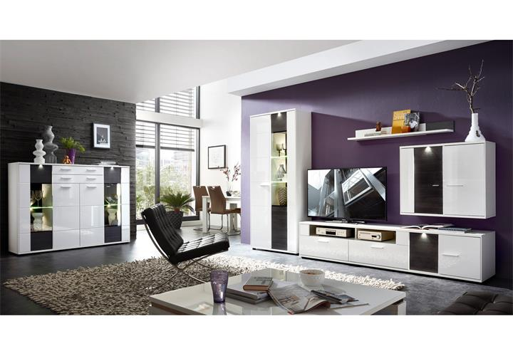 vitrine 1 clou glasvitrine standvitrine schrank wei hochglanz anthrazit mit led eur 339 95. Black Bedroom Furniture Sets. Home Design Ideas