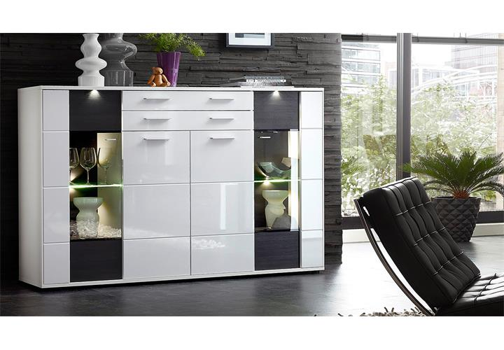 highboard clou sideboard vitrine schrank in wei hochglanz anthrazit und led eur 428 95. Black Bedroom Furniture Sets. Home Design Ideas