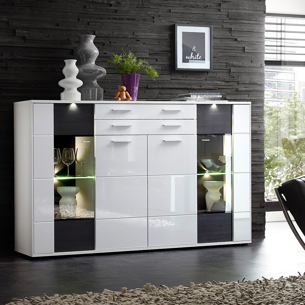highboard clou sideboard vitrine schrank in wei hochglanz anthrazit und led ebay. Black Bedroom Furniture Sets. Home Design Ideas