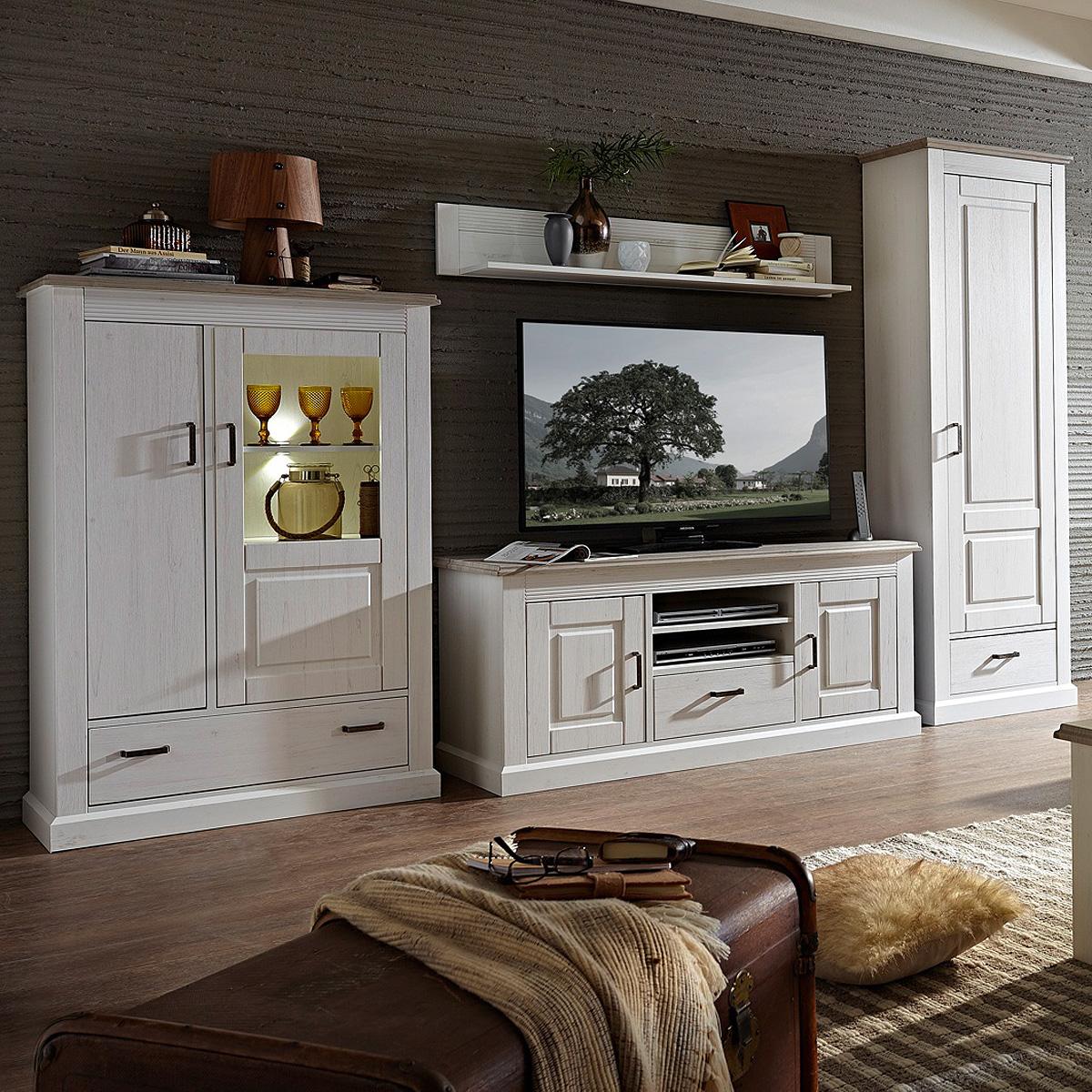 Wohnwand 3 limas anbauwand wohnzimmer set in pinie hell for Wohnzimmer set