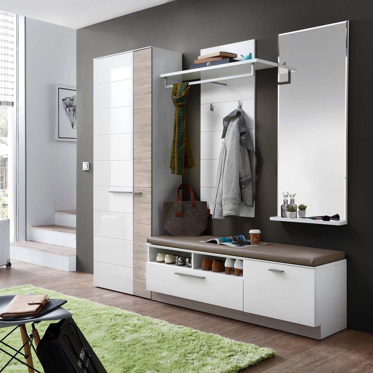 garderobenset 2 duo garderobe flurm bel in wei hochglanz. Black Bedroom Furniture Sets. Home Design Ideas