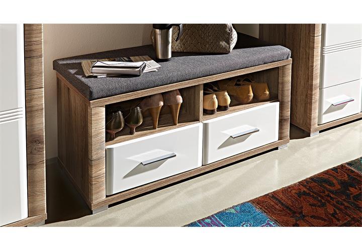 garderobenbank flame bank garderobe san remo eiche wei. Black Bedroom Furniture Sets. Home Design Ideas