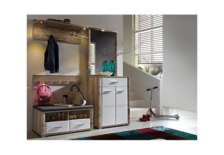 garderobenbank flame bank garderobe san remo eiche wei hochglanz mit sitzkissen eur 148 95. Black Bedroom Furniture Sets. Home Design Ideas