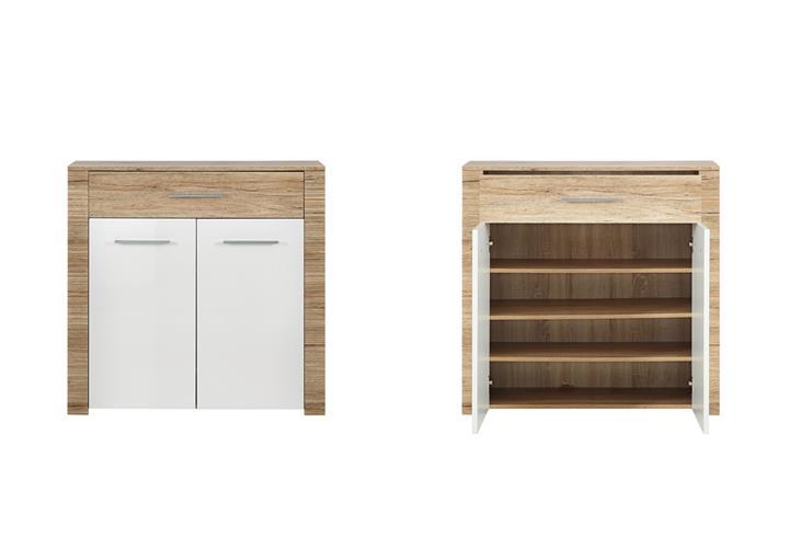 schuhschrank contest x garderobe kommode wei hochglanz san remo eiche 100 cm eur 198 95. Black Bedroom Furniture Sets. Home Design Ideas
