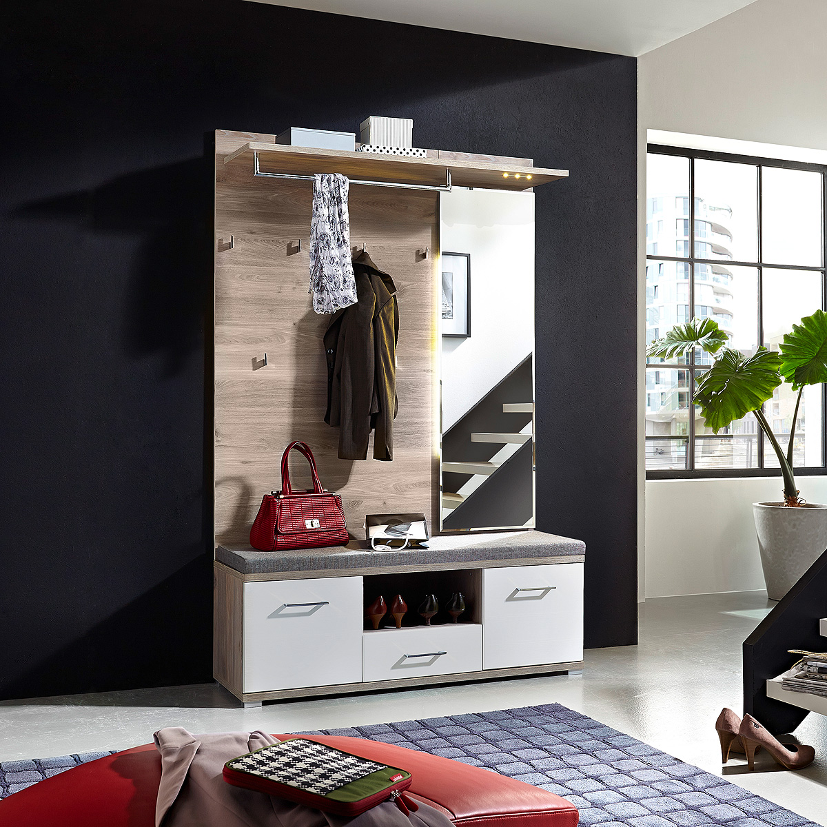 garderobe 2 set plus schuhbank spiegel flurm bel wei und silbereiche mit led eur 358 95. Black Bedroom Furniture Sets. Home Design Ideas