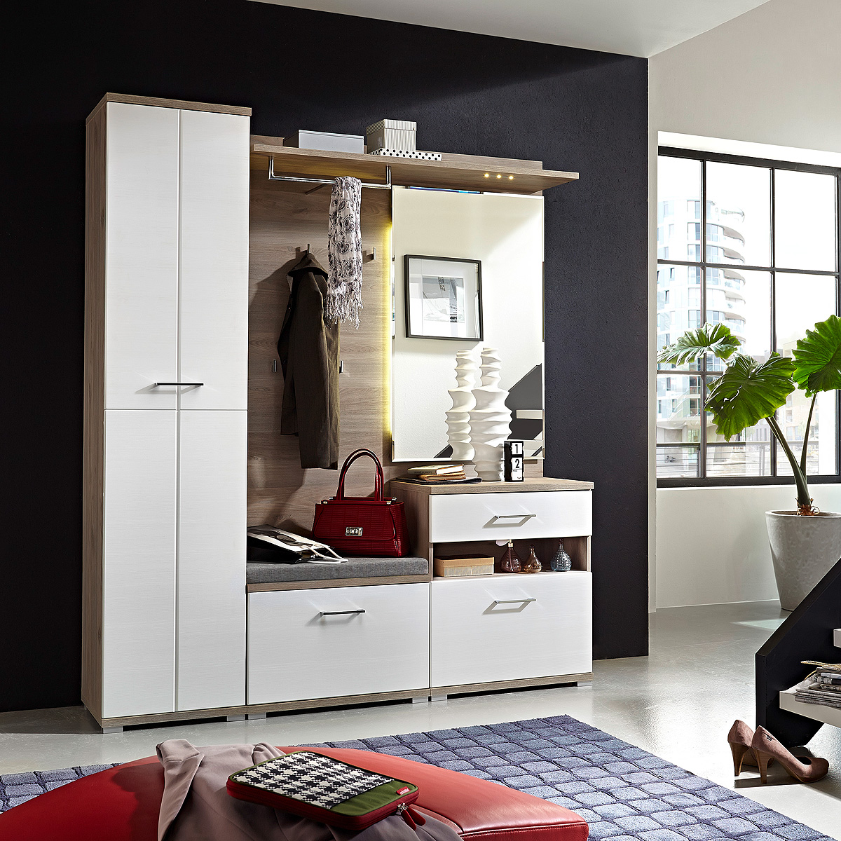 garderobe 3 set plus schuhschrank spiegel flurm bel wei. Black Bedroom Furniture Sets. Home Design Ideas