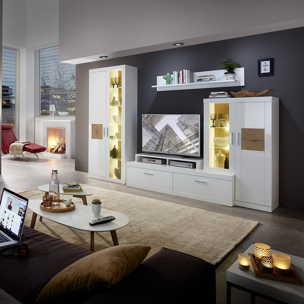 Wohnwand frontal anbauwand wohnzimmer in weiß inklusive led • eur ...