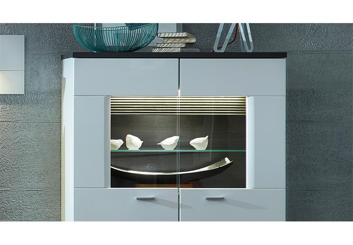 vitrine 2 madisons highboard schrank wei hochglanz matt und anthrazit mit led ebay. Black Bedroom Furniture Sets. Home Design Ideas