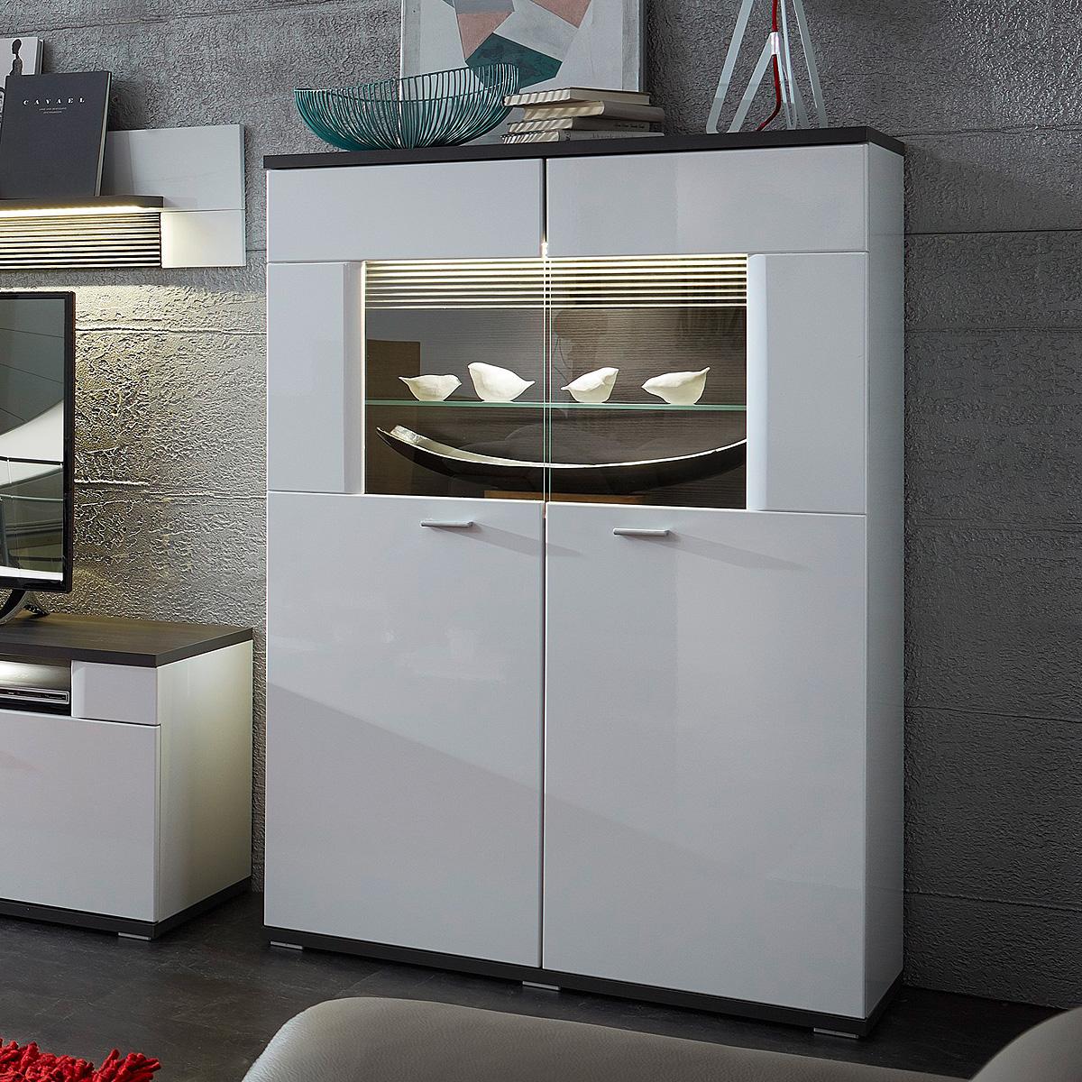vitrine 2 madisons highboard schrank wei hochglanz matt. Black Bedroom Furniture Sets. Home Design Ideas