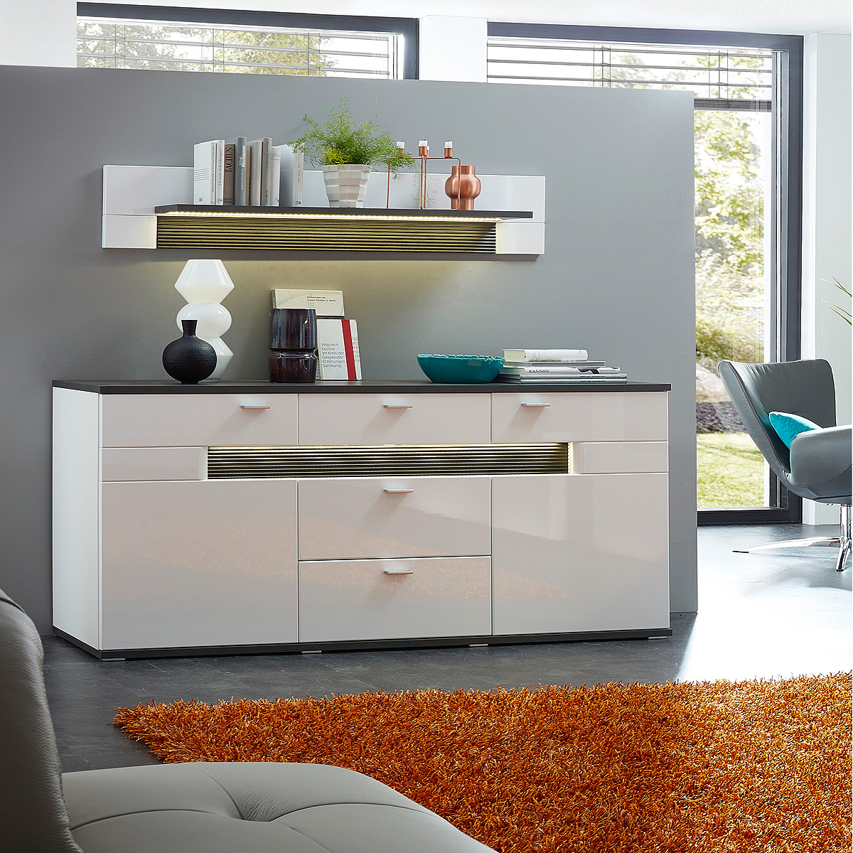 sideboard madisons kommode anrichte wei hochglanz matt und anthrazit mit led ebay. Black Bedroom Furniture Sets. Home Design Ideas