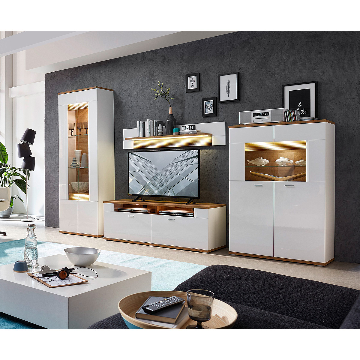 Wohnwand 1 madisons anbauwand wohnzimmer weiß hochglanz matt eiche ...