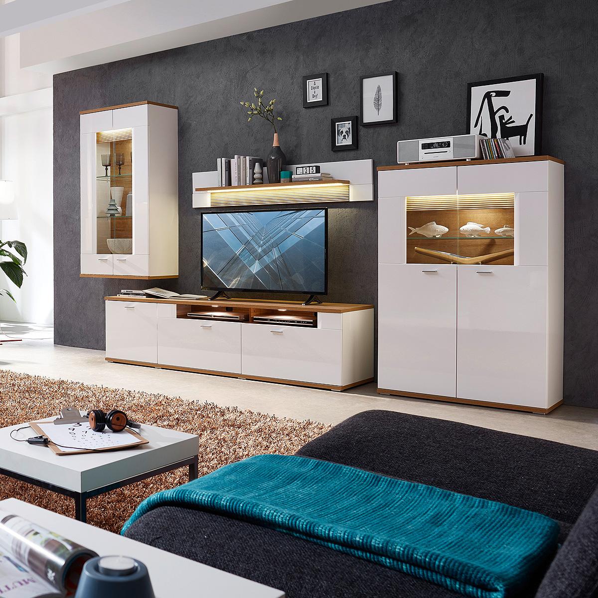 wohnwand 2 madisons anbauwand wohnzimmer weiß hochglanz matt eiche
