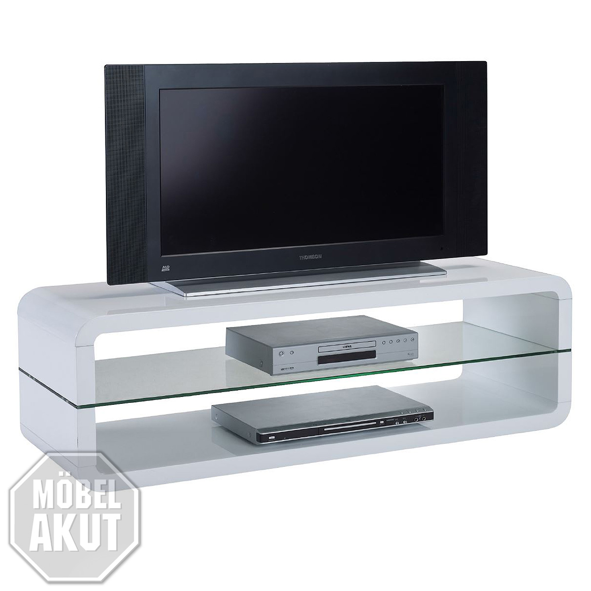 tv board anton tv schrank lowboard hifi m bel in mdf wei hochglanz und glas esg ebay. Black Bedroom Furniture Sets. Home Design Ideas