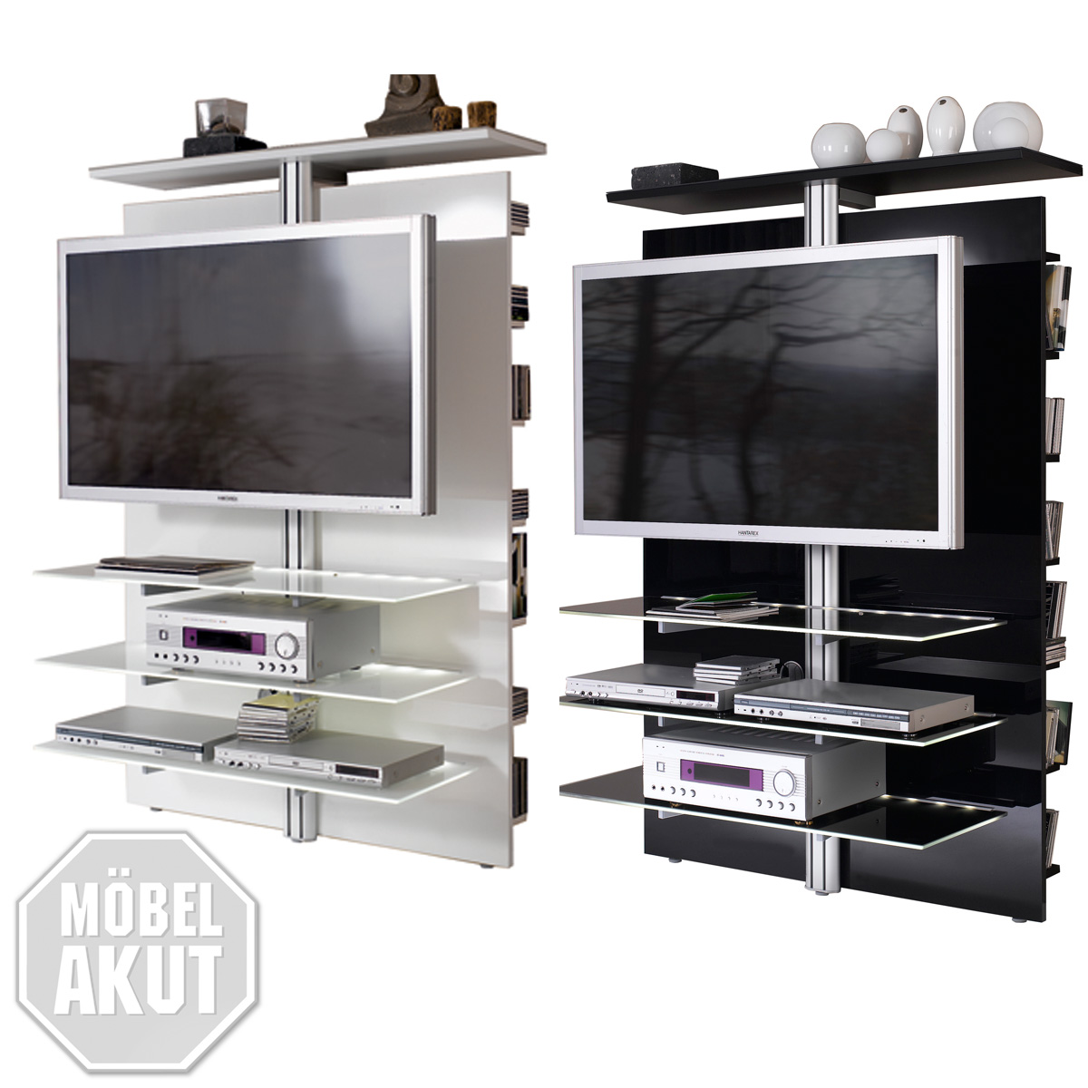 tv wand slc lcd 1900 jahnke media m bel hochglanz in schwarz oder weiss. Black Bedroom Furniture Sets. Home Design Ideas
