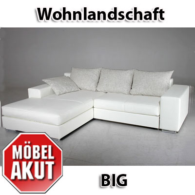 wohnlandschaft big sofa polsterecke wei neu ebay. Black Bedroom Furniture Sets. Home Design Ideas