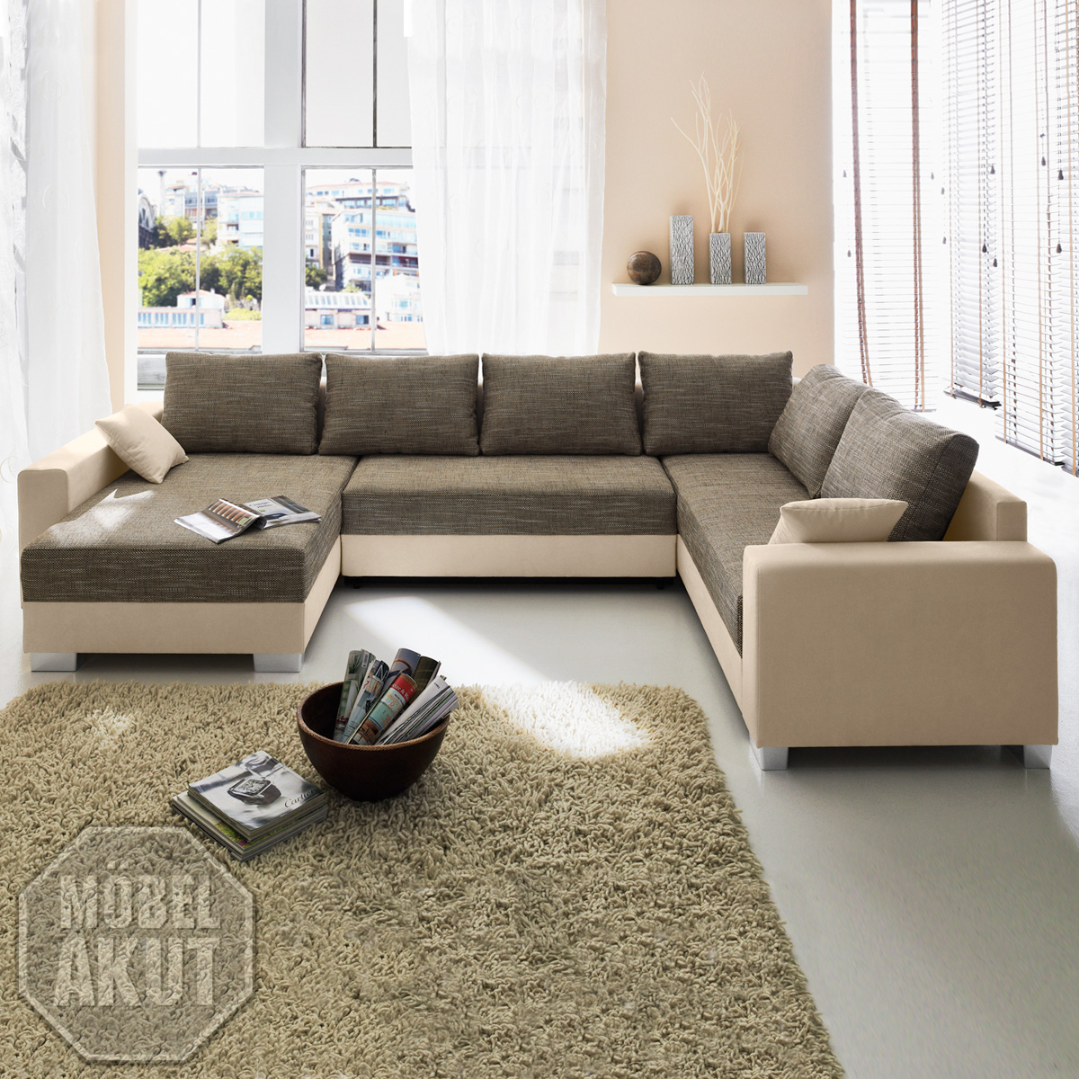 wohnlandschaft abby in beige braun sofa mit ottomane und bettkasten ebay. Black Bedroom Furniture Sets. Home Design Ideas