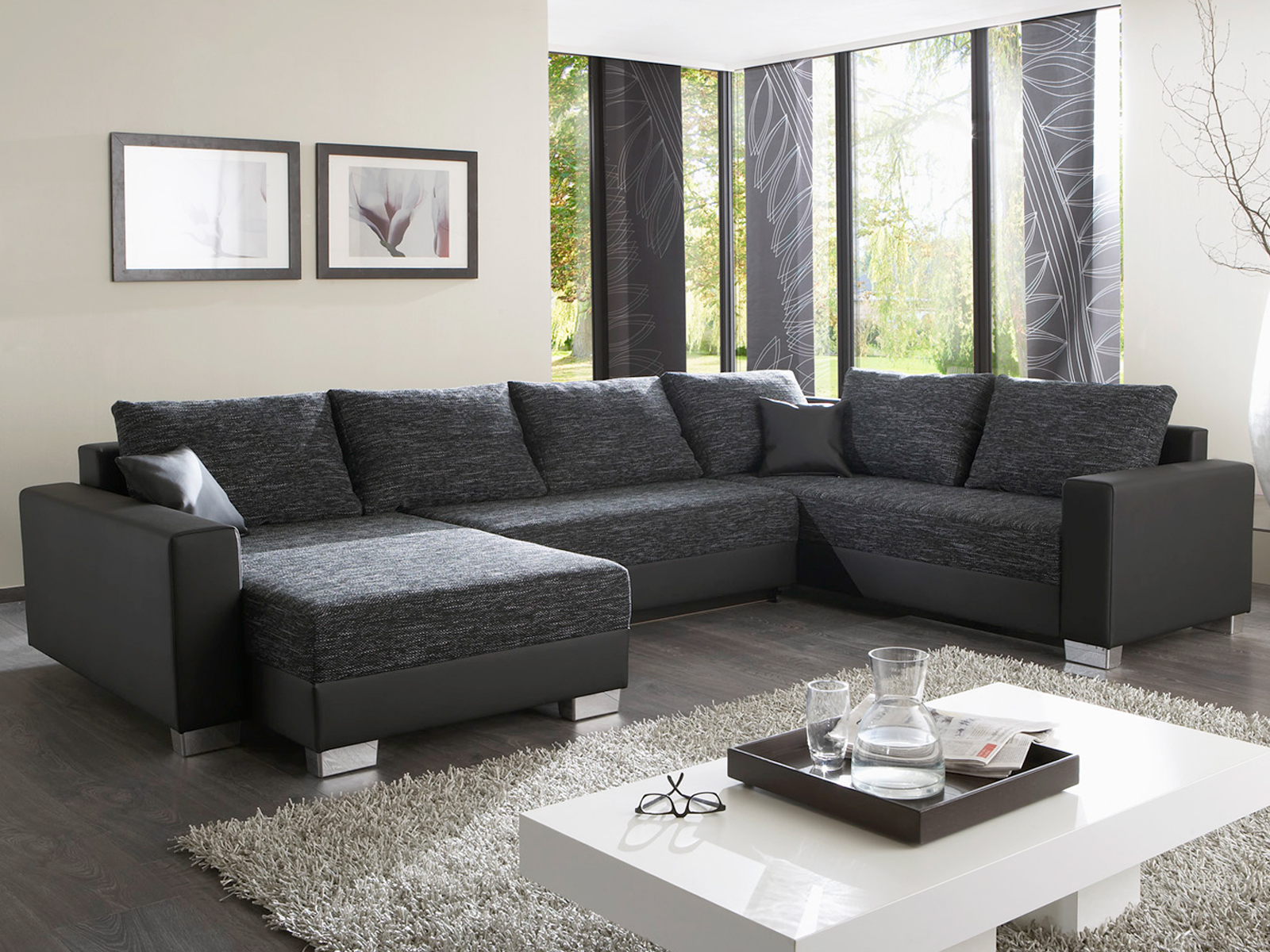wohnlandschaft abby sofa ecksofa in schwarz wei grau braun bettfunktion auswahl ebay. Black Bedroom Furniture Sets. Home Design Ideas