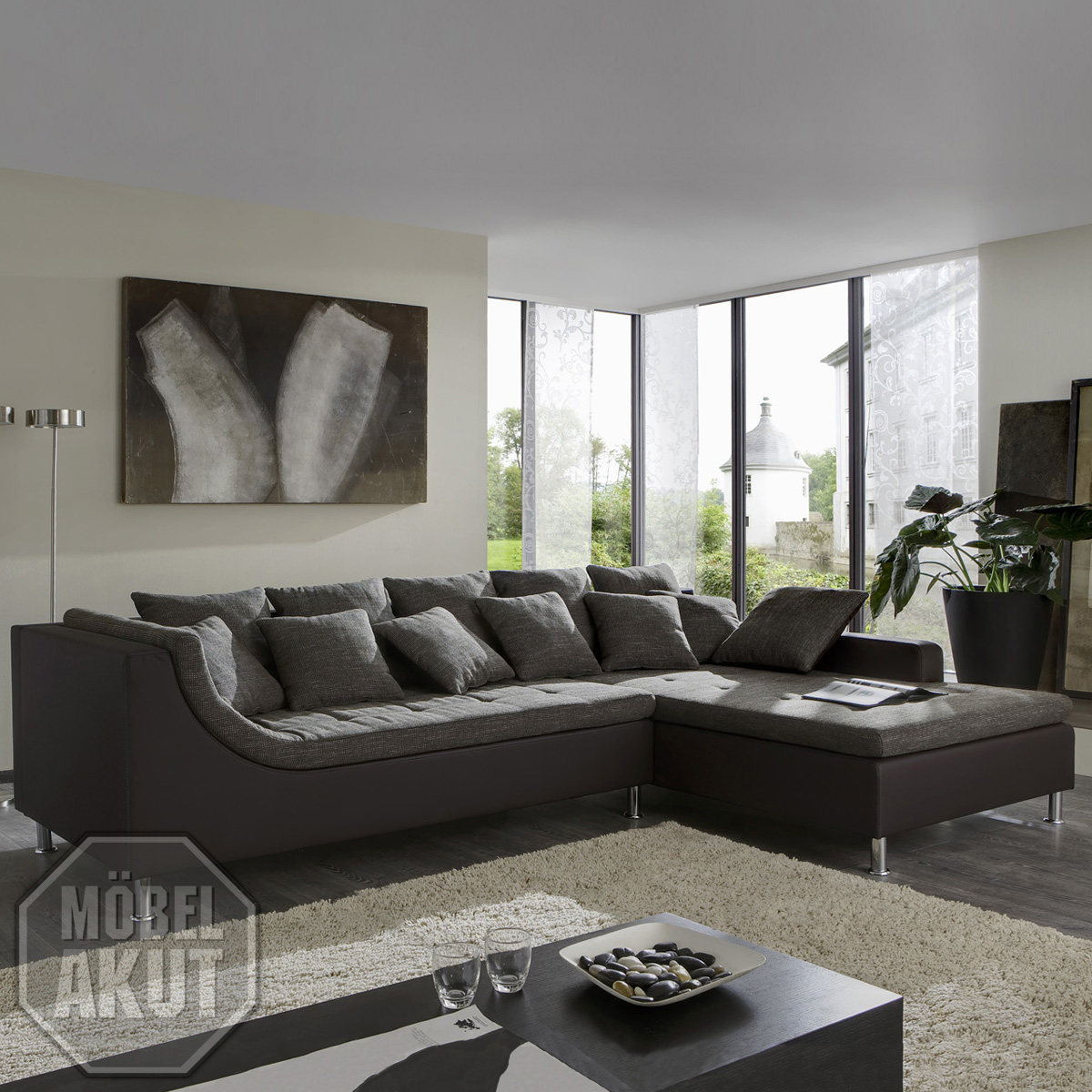 wohnlandschaft moreno sofa braun grau neu ovp ebay. Black Bedroom Furniture Sets. Home Design Ideas