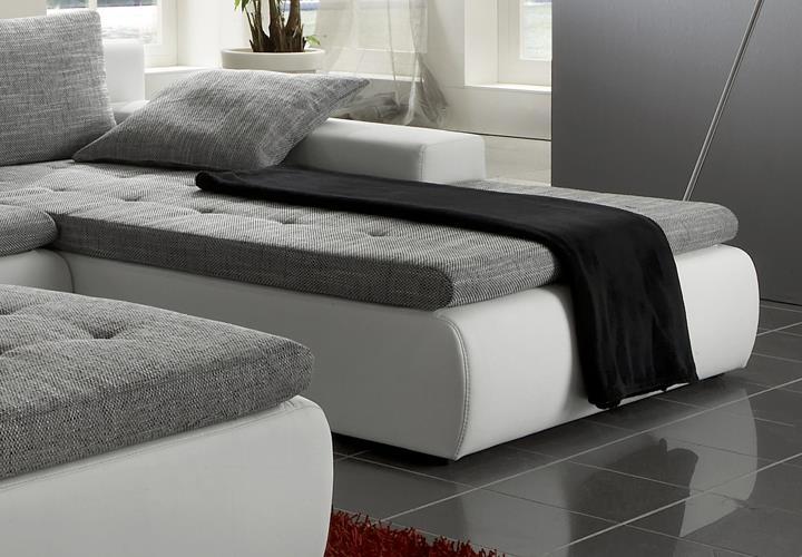ecksofa alfa wohnlandschaft mit hocker in wei und grau. Black Bedroom Furniture Sets. Home Design Ideas
