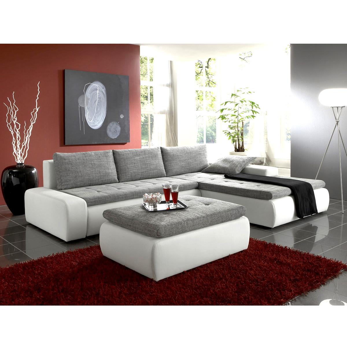 ecksofa alfa wohnlandschaft mit hocker in wei und grau mit g stebett ebay. Black Bedroom Furniture Sets. Home Design Ideas