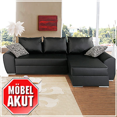 wohnlandschaft evra eck sofa schwarz mit bettkasten ebay. Black Bedroom Furniture Sets. Home Design Ideas