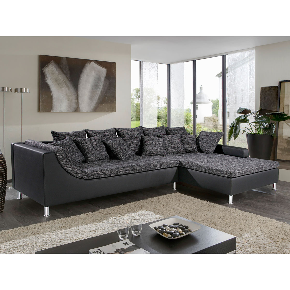 wohnlandschaft montego ecksofa sofa couch mit ottomane mit kissen und hocker ebay. Black Bedroom Furniture Sets. Home Design Ideas
