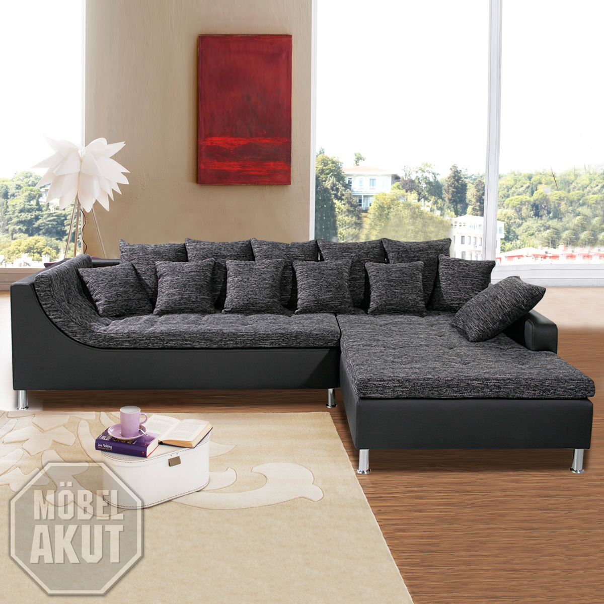 wohnlandschaft moreno sofa schwarz grau neu ovp ebay. Black Bedroom Furniture Sets. Home Design Ideas