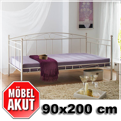 metallbett house bett in wei mit rahmen 90x200 ebay. Black Bedroom Furniture Sets. Home Design Ideas