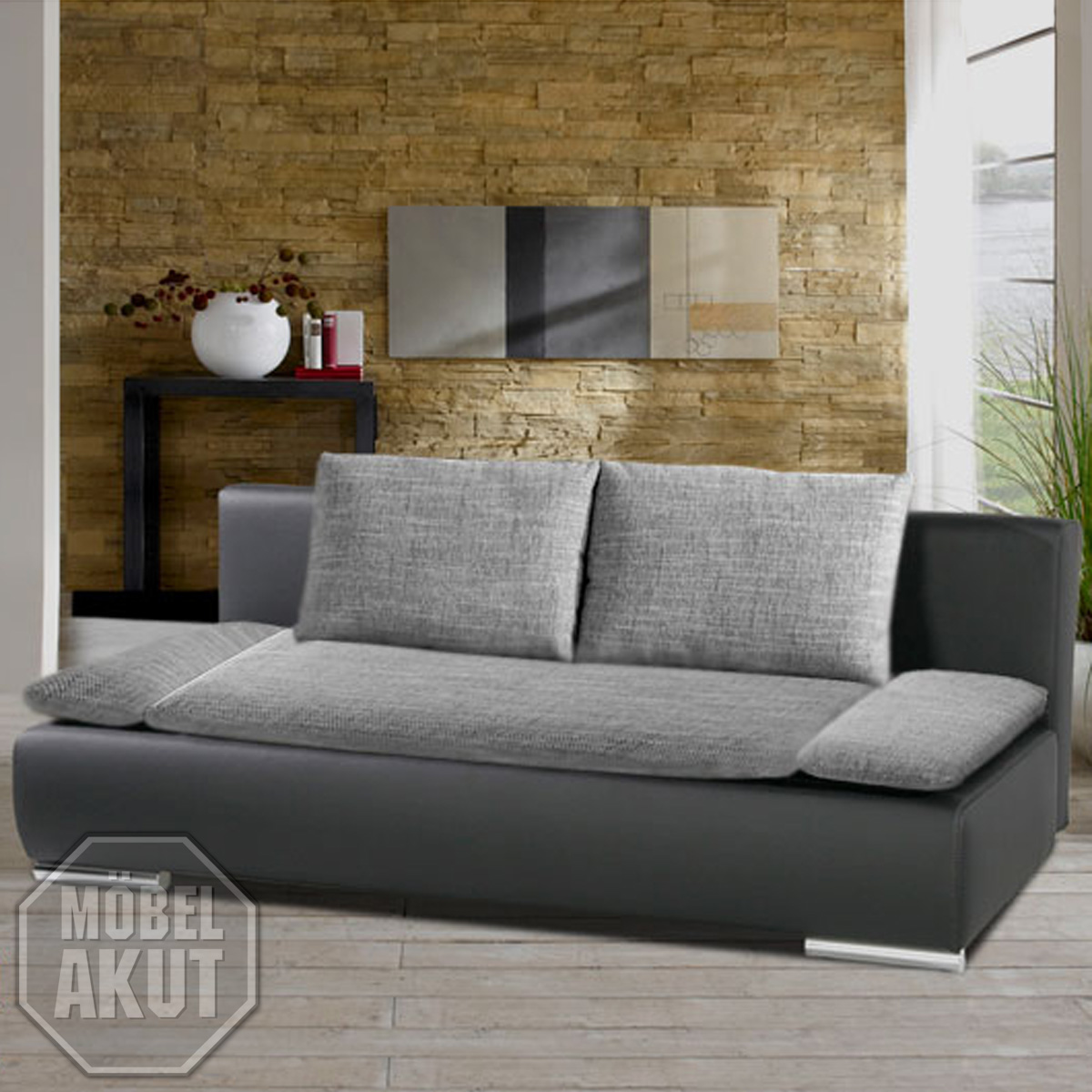 doppel schlafsofa devil sofa funktionssofa in schwarz grau mit bettkasten ebay. Black Bedroom Furniture Sets. Home Design Ideas