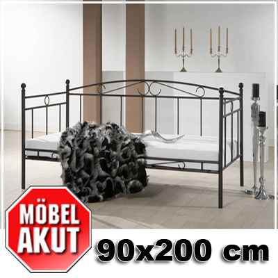 metallbett house bett in schwarz mit rahmen 90x200 ebay. Black Bedroom Furniture Sets. Home Design Ideas