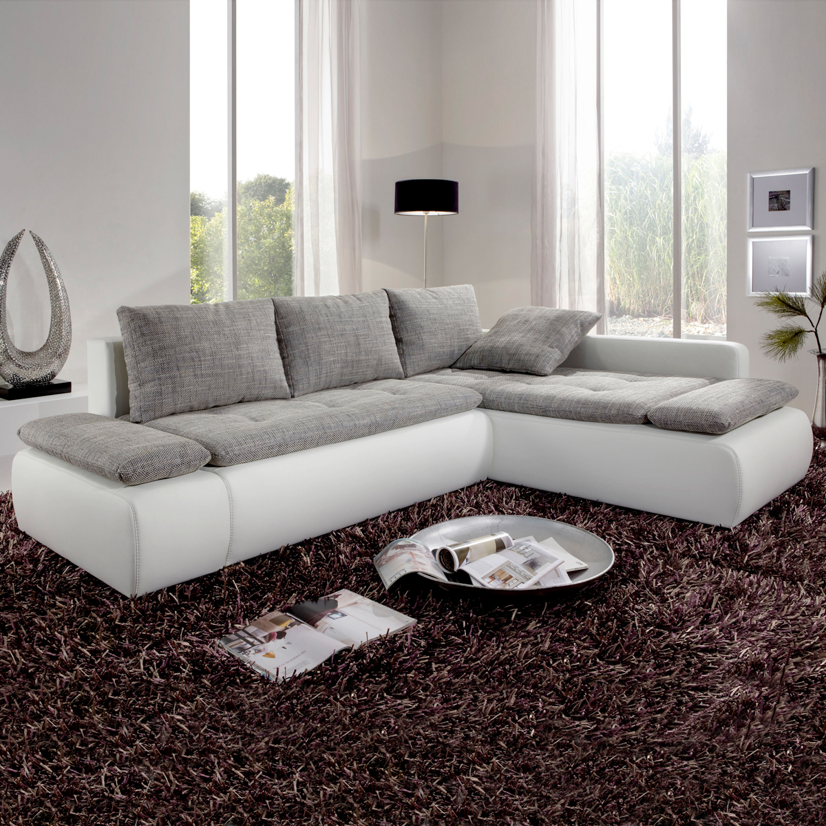 sofa saigon polsterecke in wei mit bettfunktion ebay. Black Bedroom Furniture Sets. Home Design Ideas