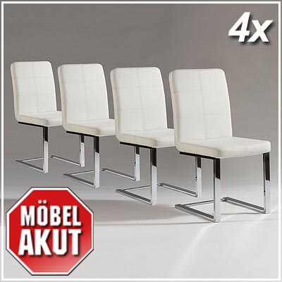 4er set schwingstuhl ernie stuhl wei chrom neu ebay. Black Bedroom Furniture Sets. Home Design Ideas