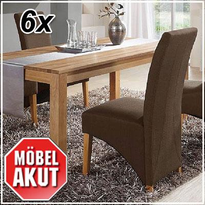 6er set stuhl jana polsterstuhl in stoff braun neu ebay for Polsterstuhl braun stoff