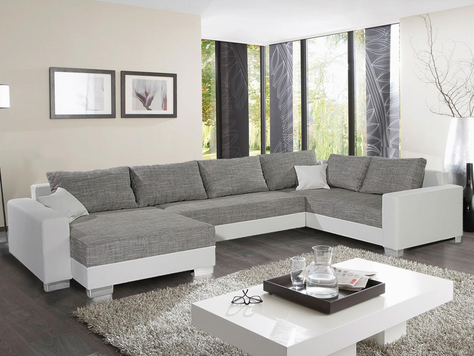 wohnlandschaft abby sofa ecksofa in schwarz wei grau braun bettfunktion auswahl ebay. Black Bedroom Furniture Sets. Home Design Ideas