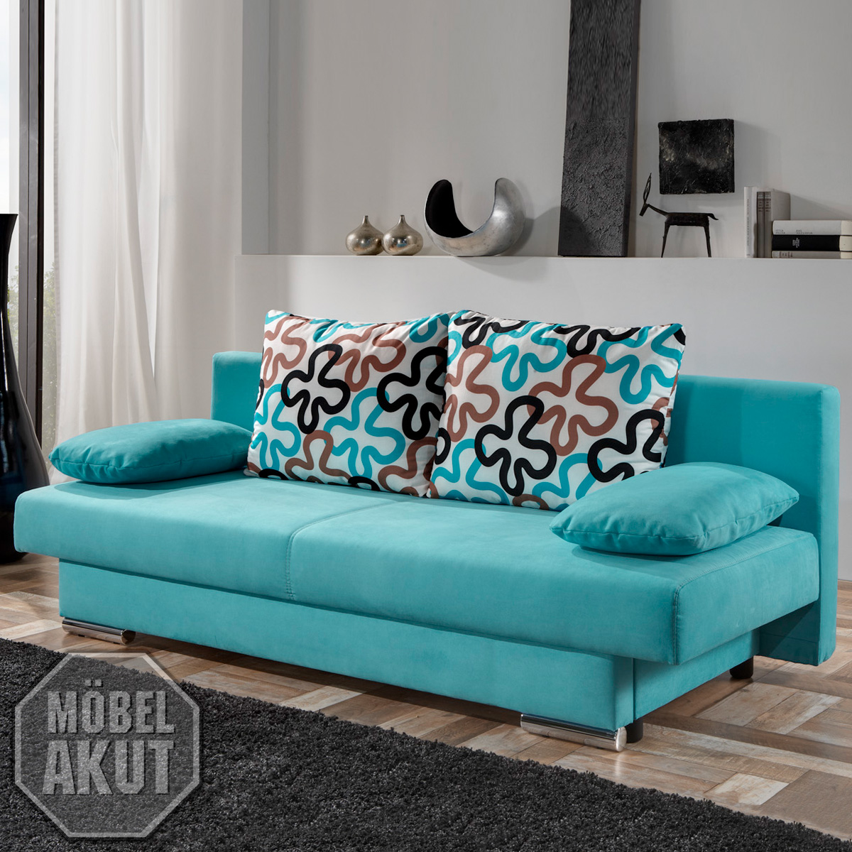 modernes schlafsofa tiffany sofa in t rkis petrol neu ebay. Black Bedroom Furniture Sets. Home Design Ideas