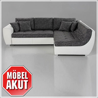 wohnlandschaft galia sofa ecksofa in wei grau neu ebay. Black Bedroom Furniture Sets. Home Design Ideas