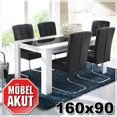 esstisch buno tisch in wei hochglanz schwarz glas 160x90 ebay. Black Bedroom Furniture Sets. Home Design Ideas