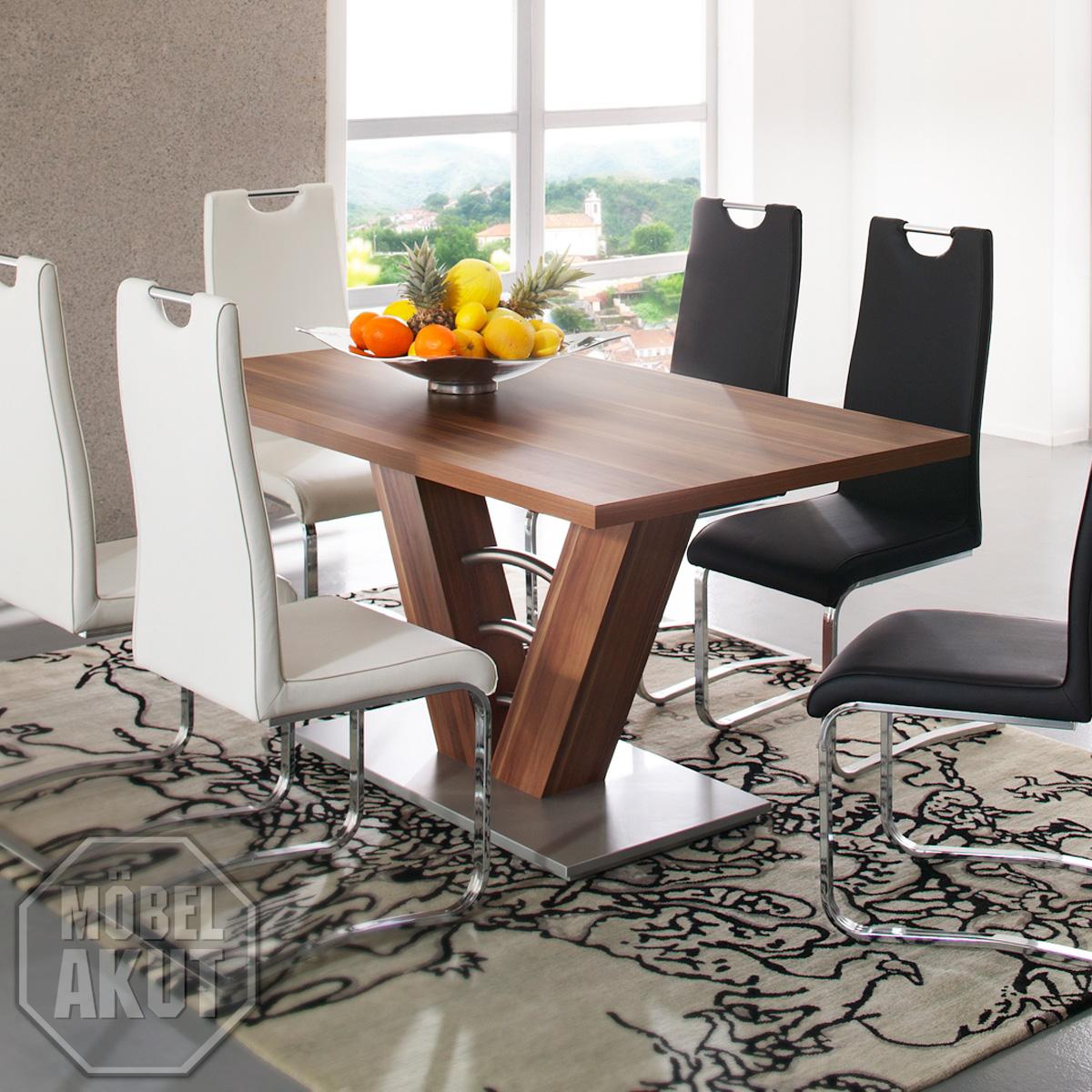 Esstisch mires tisch in nussbaum silber 160x90 ebay for Esstisch tisch