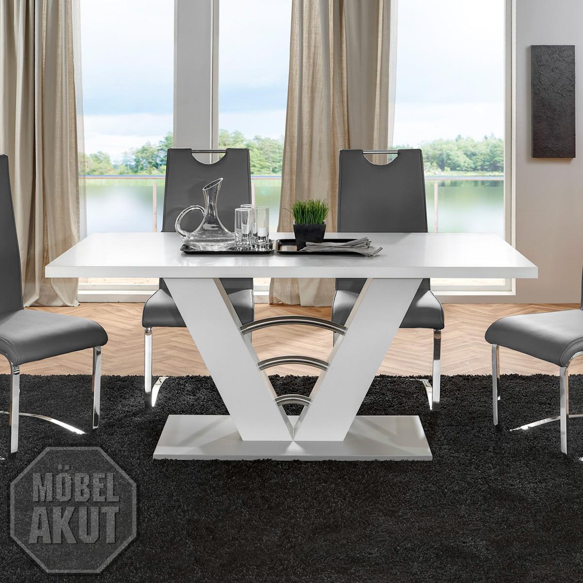 esstisch mires tisch in wei silber 160x90 ebay. Black Bedroom Furniture Sets. Home Design Ideas