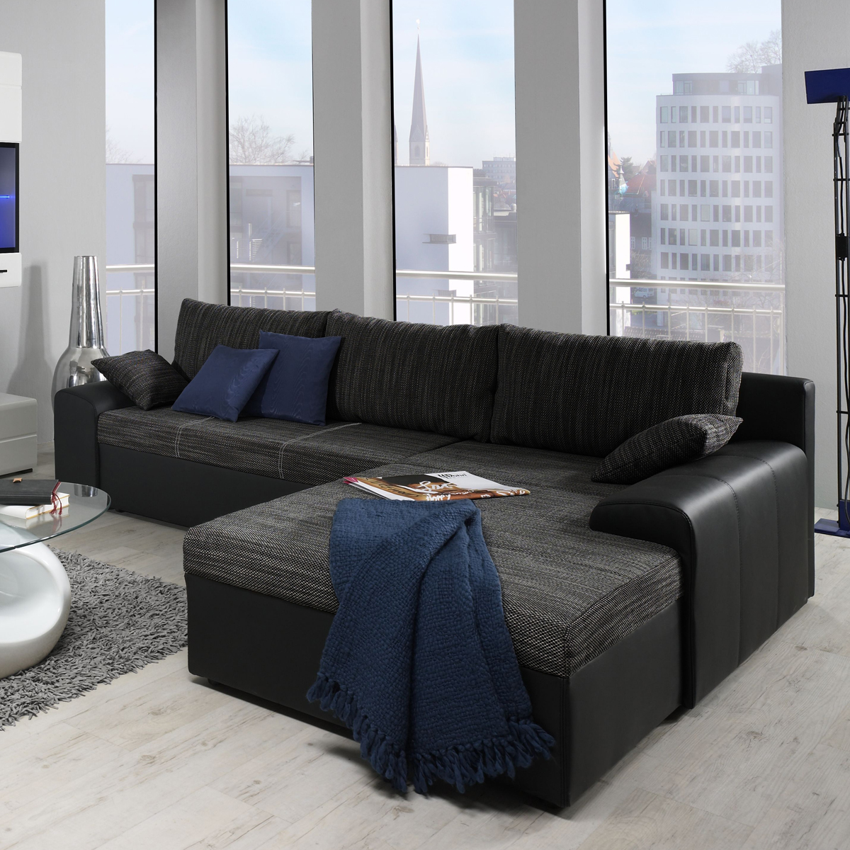 ecksofa snake wohnlandschaft sofa polster in webstoff mit g stebett bettkasten ebay. Black Bedroom Furniture Sets. Home Design Ideas
