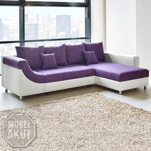 wohnlandschaft novaro sofa ecksofa in wei lila neu. Black Bedroom Furniture Sets. Home Design Ideas