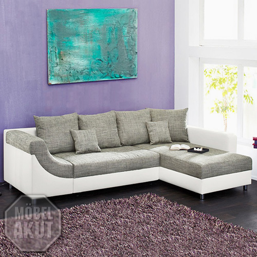wohnlandschaft novaro sofa ecksofa in wei grau neu. Black Bedroom Furniture Sets. Home Design Ideas