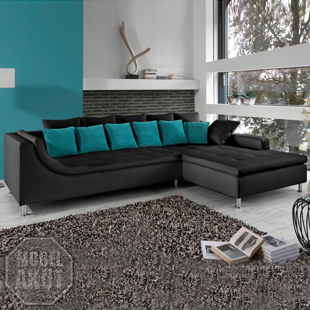 wohnlandschaft moreno sofa schwarz petrol t rkis neu. Black Bedroom Furniture Sets. Home Design Ideas