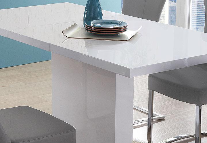 esstisch pamela tisch in wei hochglanz edelstahl ausziehbar 160 200 x80 cm ebay. Black Bedroom Furniture Sets. Home Design Ideas