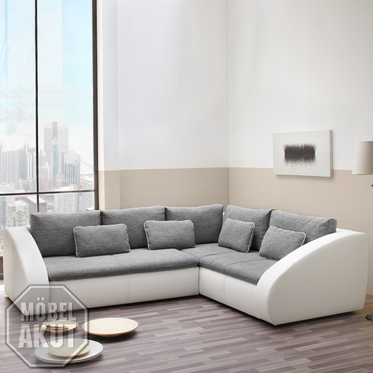wohnlandschaft sotos ecksofa sofa in wei grau mit bettkasten neu ebay. Black Bedroom Furniture Sets. Home Design Ideas