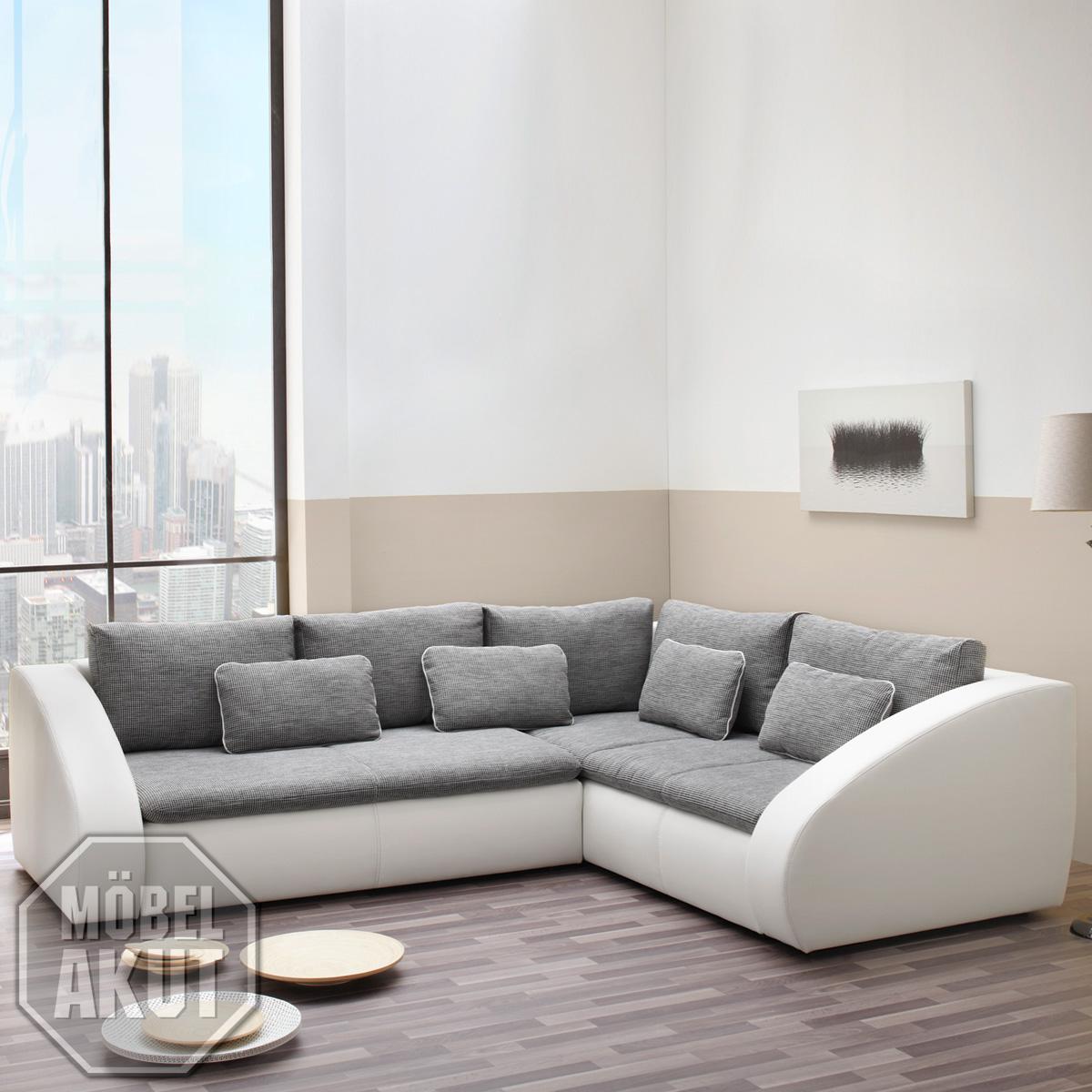Wohnlandschaft sotos ecksofa sofa in wei grau mit for Wohnlandschaft mit bettkasten