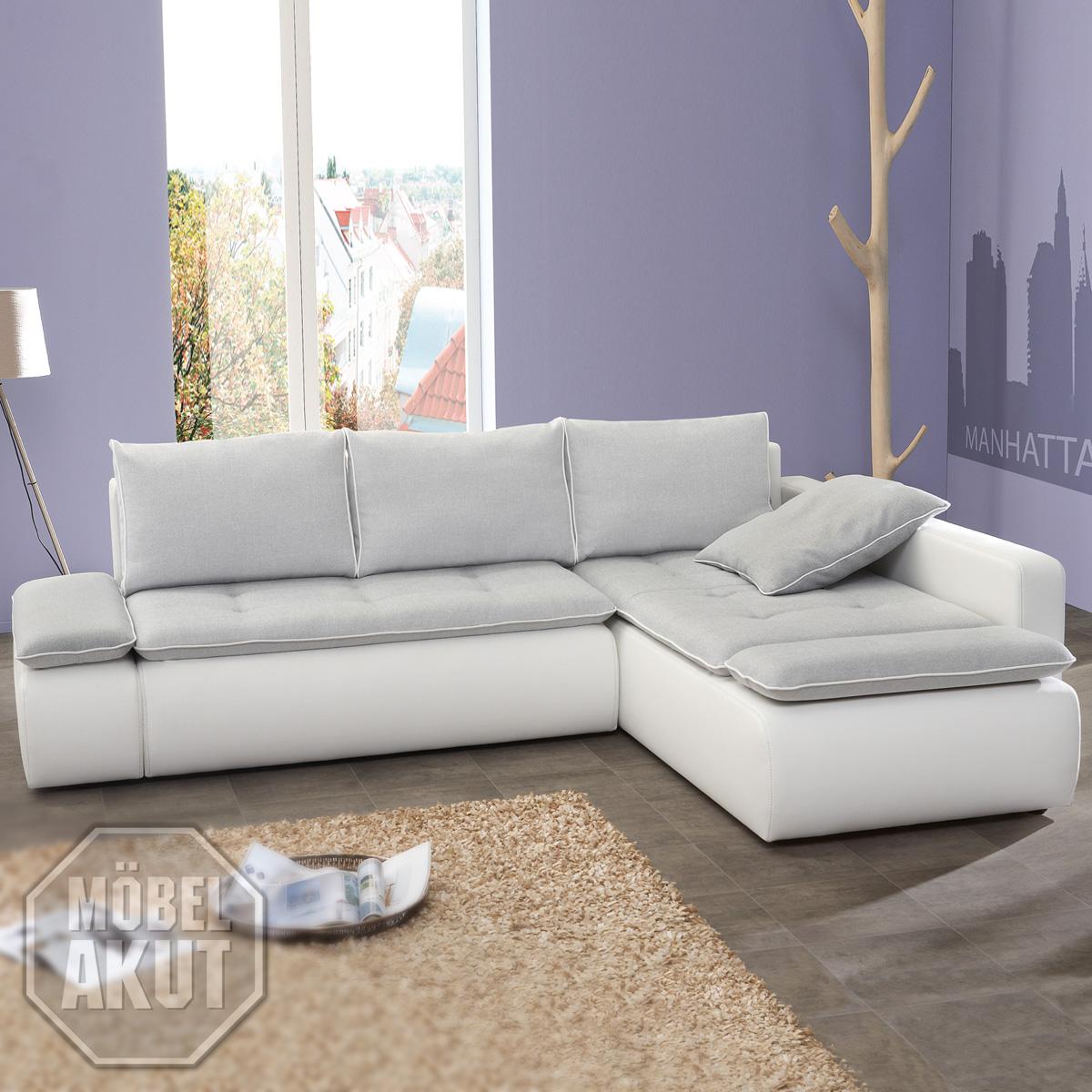 wohnlandschaft pandor sofa ecksofa in wei hell grau mit bettkasten neu ebay. Black Bedroom Furniture Sets. Home Design Ideas
