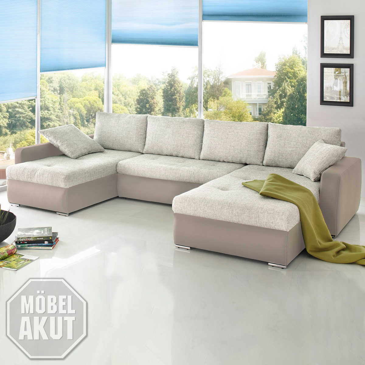 wohnlandschaft estelle ecksofa sofa hell braun grau bettfunktion und bettkasten ebay. Black Bedroom Furniture Sets. Home Design Ideas