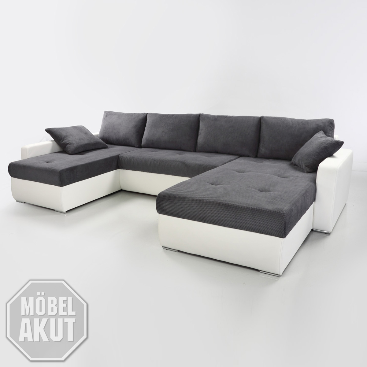 wohnlandschaft stella ecksofa sofa wei dunkel grau bettfunktion bettkasten ebay. Black Bedroom Furniture Sets. Home Design Ideas